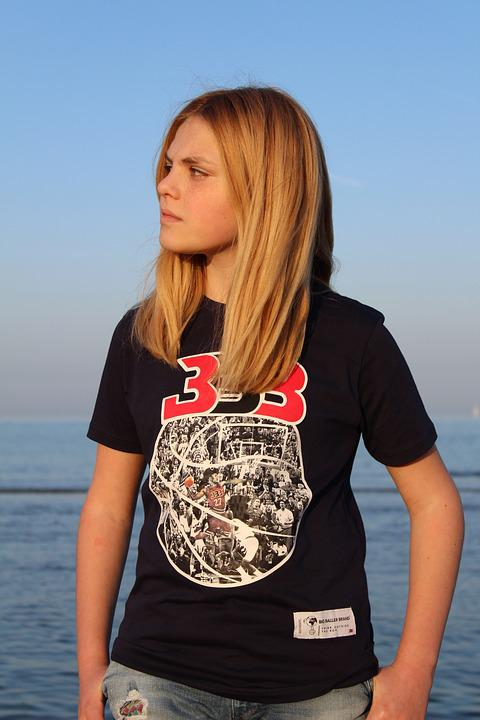 Boy, Young Boy, Blonde Hair, Sea, Model, Sky, Summer