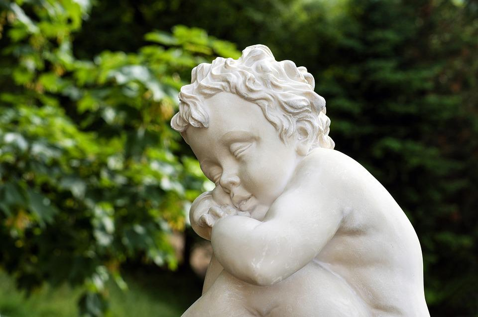Sculpture, Child, Boy, Sleep, Fig, Nature