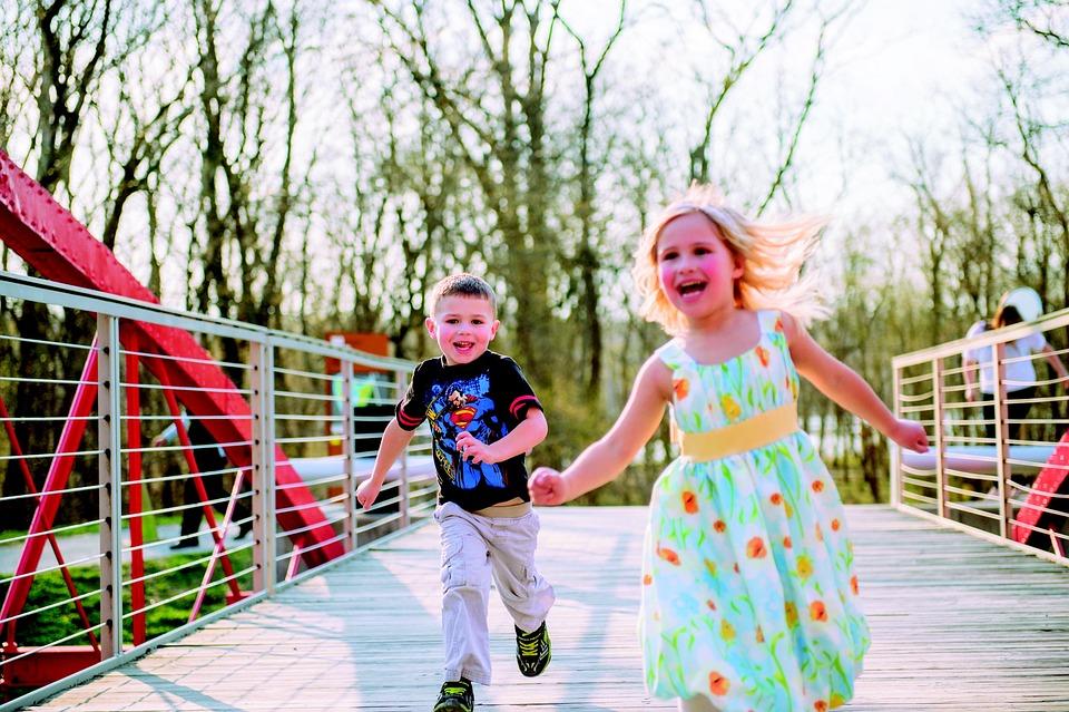 Kids Running, Child, Girl, Boy, Hand In Hand, Smiling