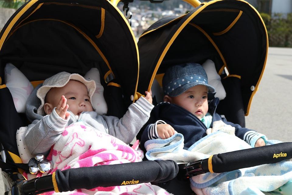 Twins, Boy, Girls, Stroller