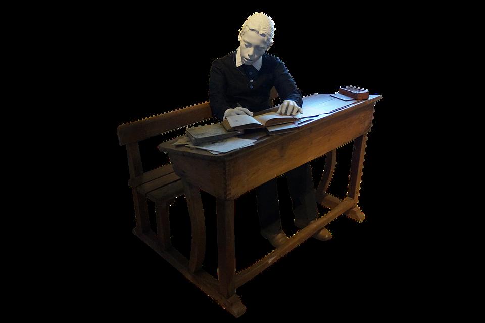 Boy, Student, Books, Desk, Bench, Education, Classroom