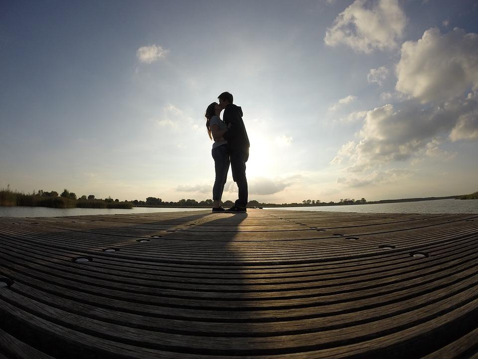 Pair, Man, Woman, Girl, Boy, Love, Kiss, Couple, Sun