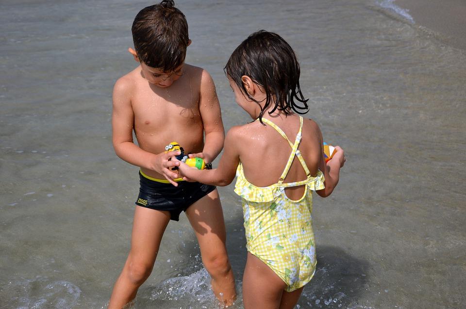 Children, Childhood, Boy, Girl, Twins, Play, Exchange