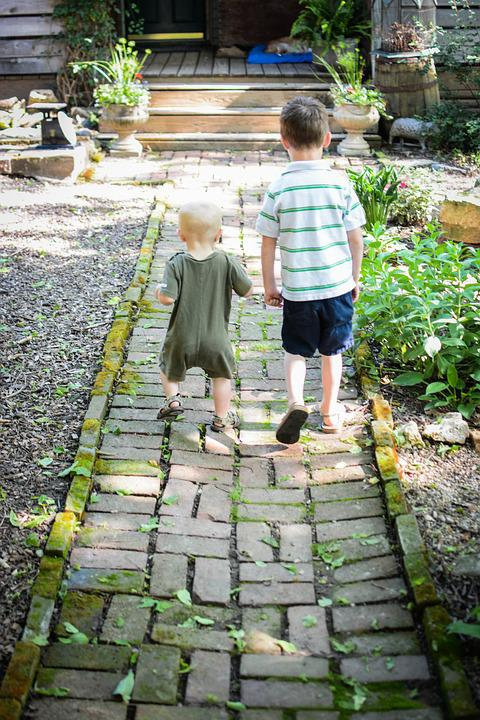 Boys, Walking, Brothers, Family, Walk, Rustic, Bricks