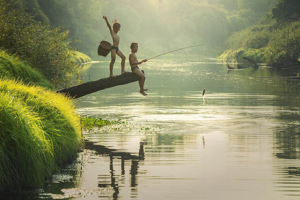 Asia, Boys, Cambodia, Children, Fish, Fisherman