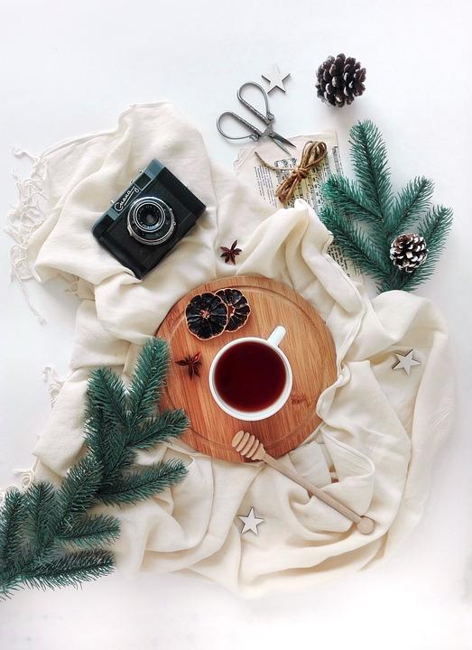Layout, Tea, Tea Party, Spruce, Branch, Camera