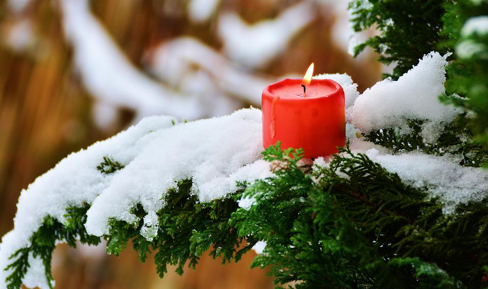 Candle, Flame, Winter, Branch, Branches, Snow, Light