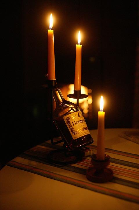 Cognac, Brandy, Candles, Hennessy, Light, Darkness