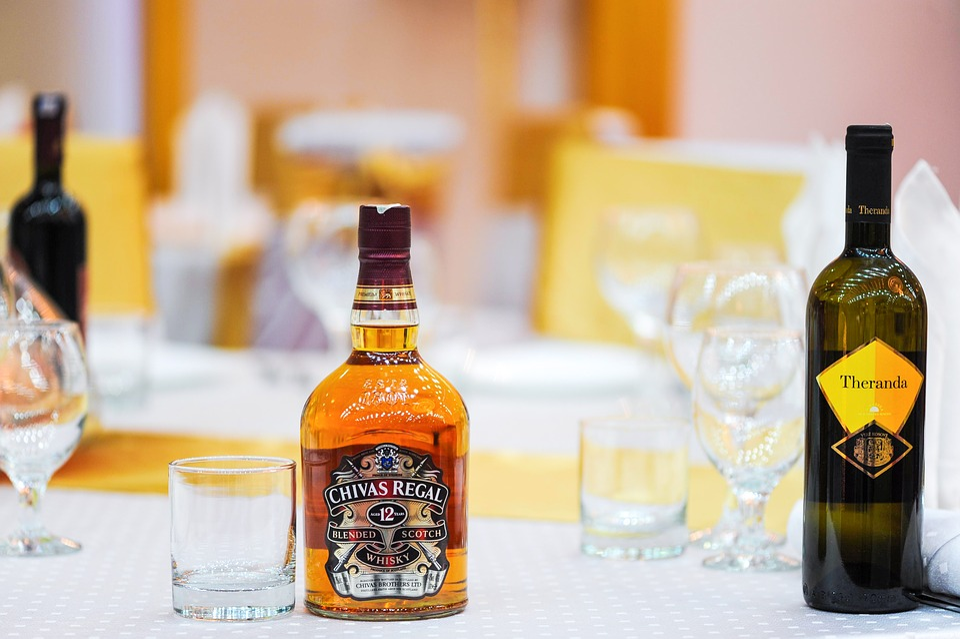 Brandy, Whiskey, Bottles, Restaurant, Glass, Drink