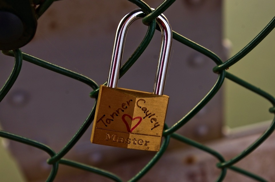 Brass And Steel Love Lock, Love, Padlock, Heart