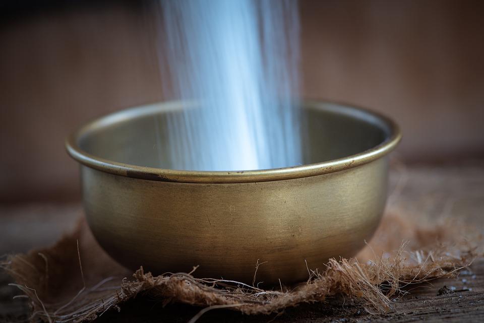 Bowl, Sugar, Filling, A Trickle, Brass Bowl, Fill