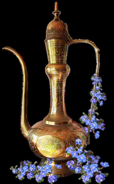Brass, Kettle, Ornament, Flowers