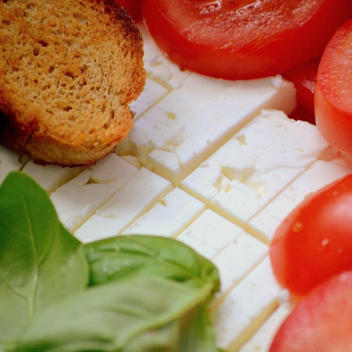 Feta, Tomato, Basil, Bread, Eat, Food, Italian, Cut