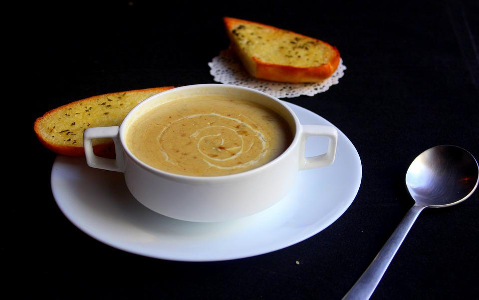 Soup, Steaming, Bread