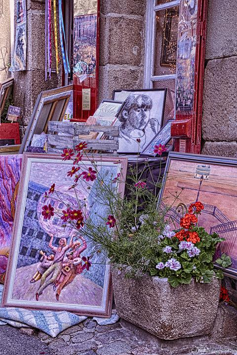 Breagne, Old Stone, Painter, Table, Colors, Painting