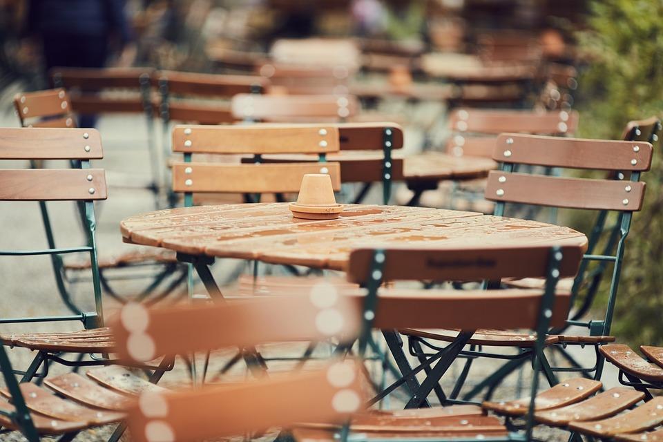 Cafe, Beer Garden, Table, Chairs, Break, Road
