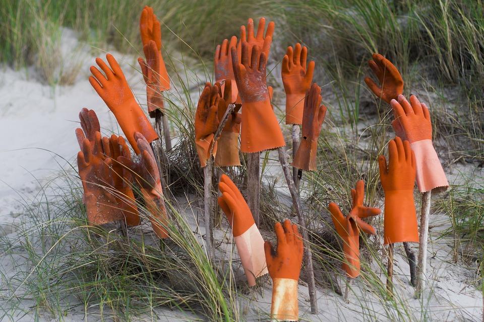 Hands, Gloves, Work Gloves, Orange, Break, End Of Work
