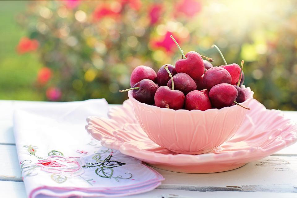 Cherries, Bowl, Pink, Fruit, Breakfast, Morning, Fresh
