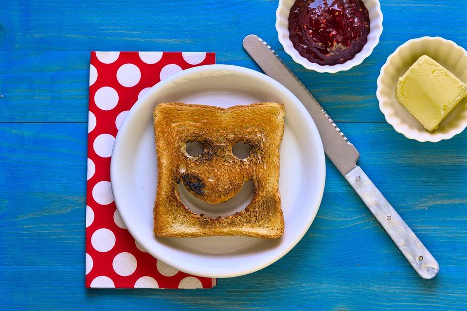 Smiley, Toast, Breakfast, Butter, Jam, Bread, Meal