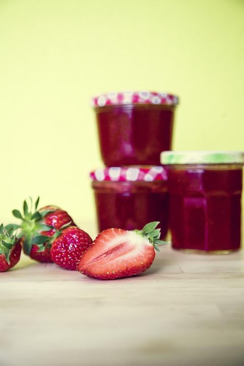 Strawberries, Jam, Glass, Spread, Vitamins, Breakfast