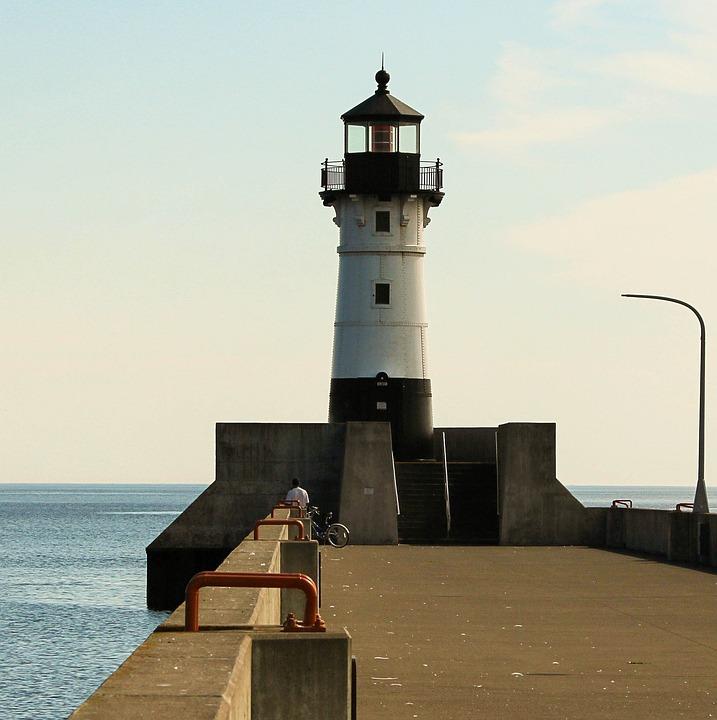 Lighthouse, Duluth Minnesota, Breakwater, Pier
