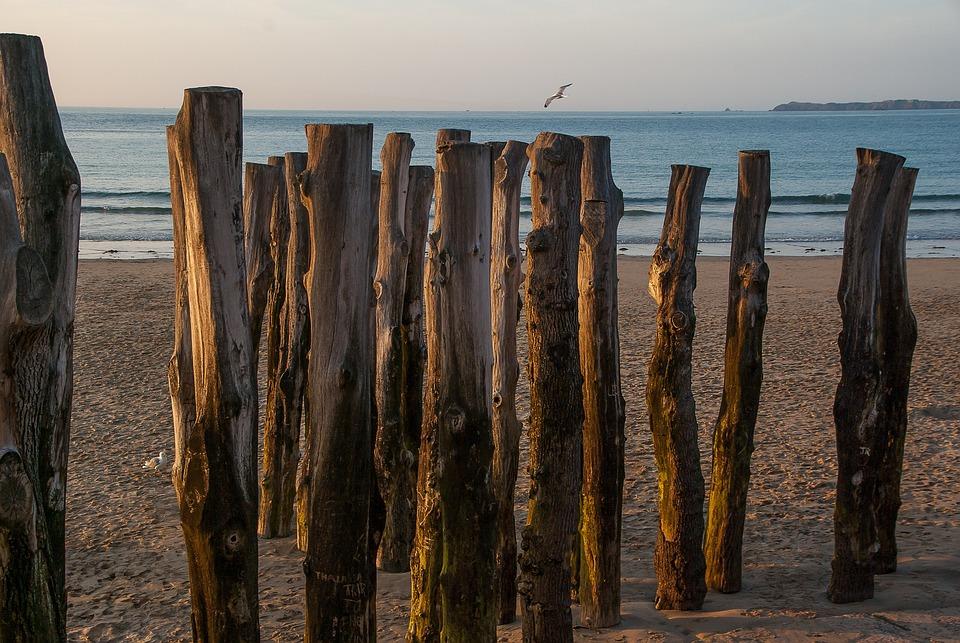 Brittany, Saint Malo, Beach, Breakwater
