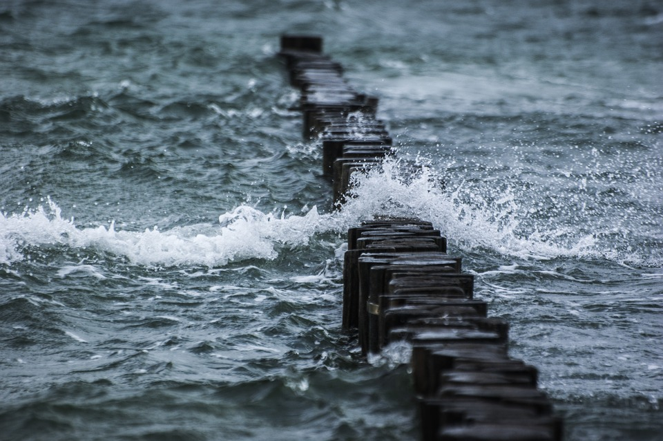 Breakwater, Sea, Wave, Water, Spray, Stormy, Windy