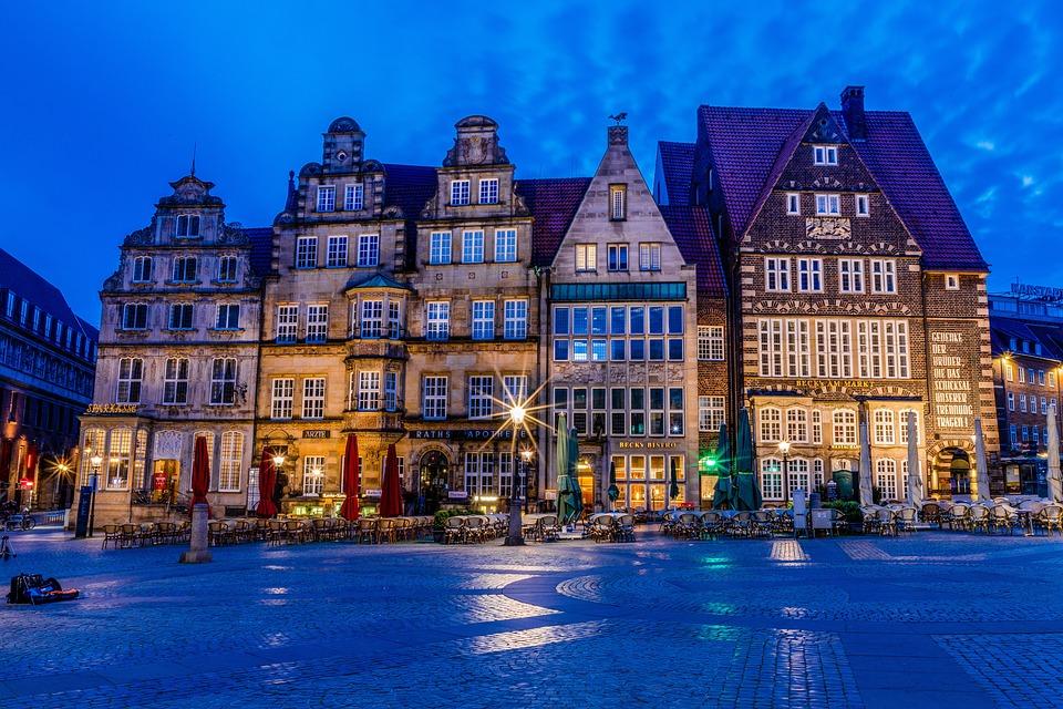 Bremen, Marketplace, Blue Hour, Roland, Old Town