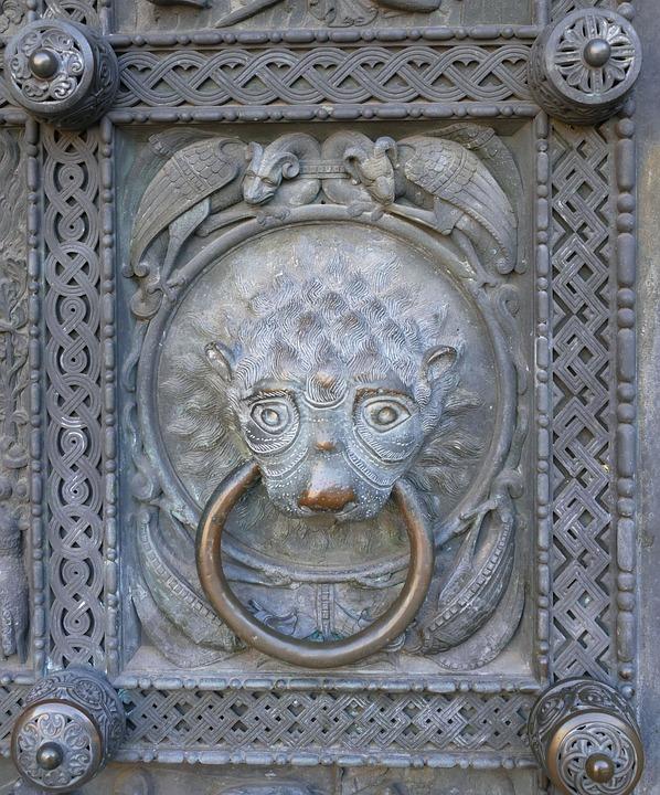 Bremen, Dom, Relief, Image, Doorknocker, Lion