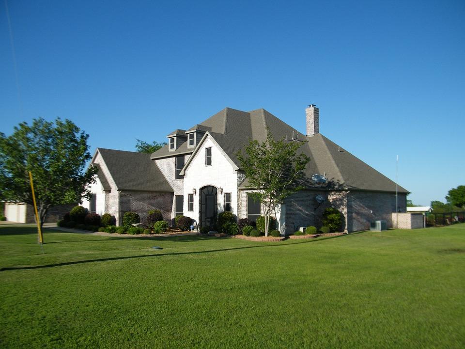 Brick Home, Blue Sky, Green Lawn, Architecture