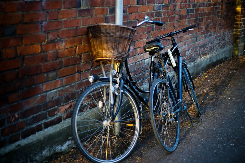 Basket, Bicycles, Bikes, Brick Wall, Pavement, Street