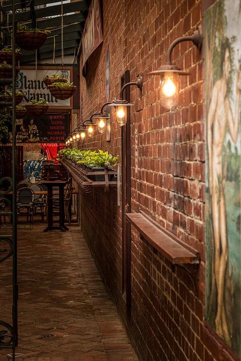 Free photo Brick Wall Lights Mural Plants Old Fashioned Lane  Max