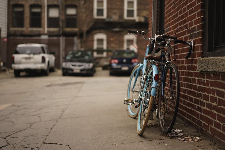 Alley, Bicycles, Brick Wall, Cars, Macro, Street