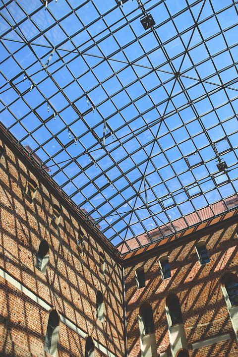 Glass, Roof, Castle, Bricks, Sky, Blue, Red, Clear
