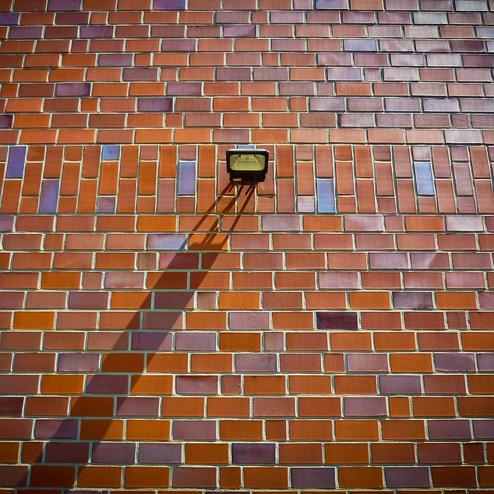 Brick, Wall, Bricks, Brick Wall, Lamp, Shadow