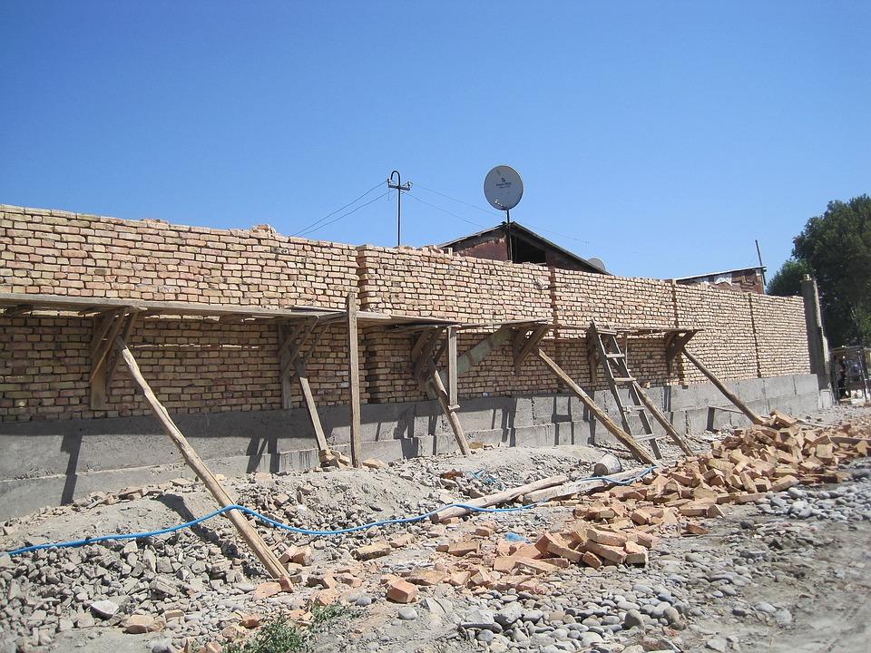 Uzbekistan, Scaffolding, Masonry, Bricks, Work