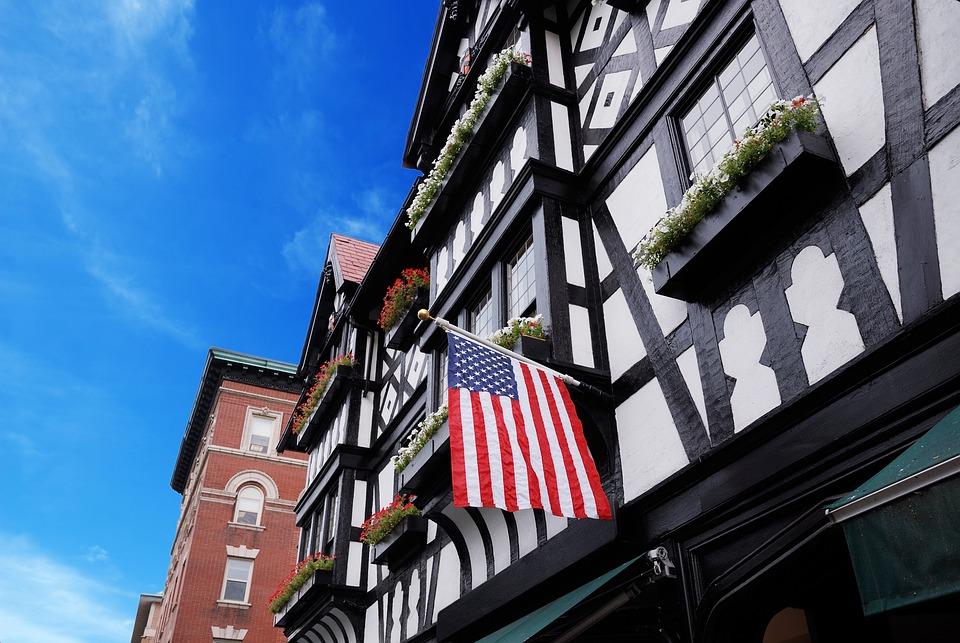 Flag, Usa, Building, Bricks, Architecture