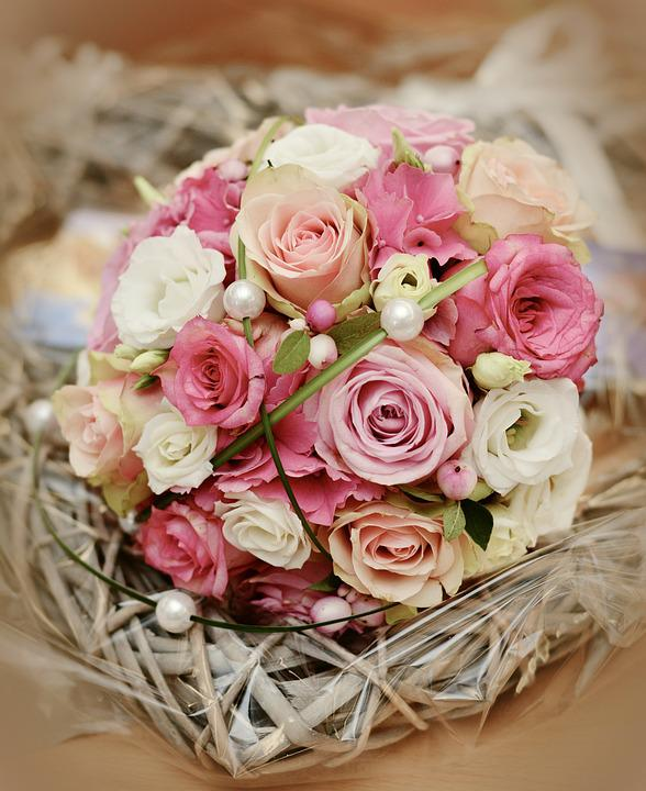Bridal Bouquet, Roses, Wedding, Bouquet, Love, Romance