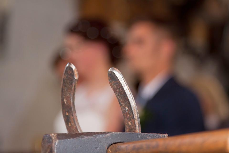 Horseshoe, Bride, Groom, Wedding, Luck, Connection