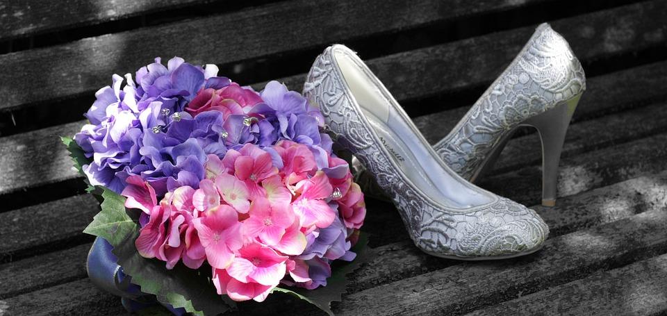 Bride, Shoes, Bouquet, Pink, Purple, Hydrangea, Married