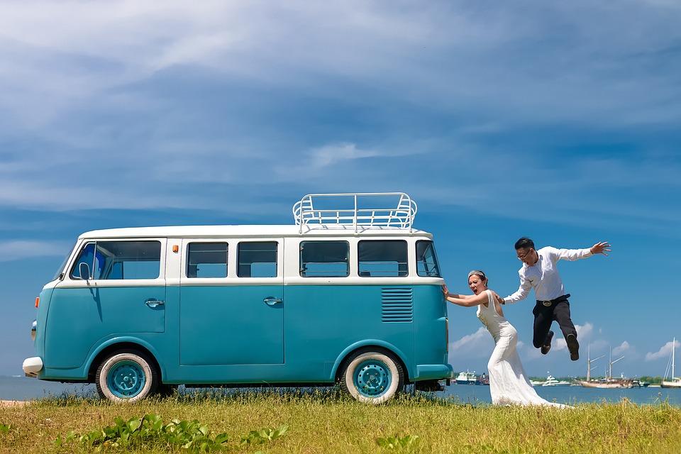 Wedding, Couple, Love, Funny, Jump, Van, Bride, Groom