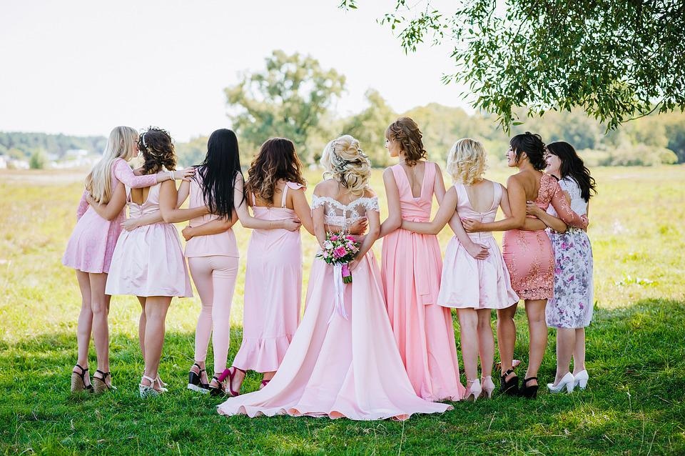 Woman, Bridal Party, Lineup, Wedding, Bride