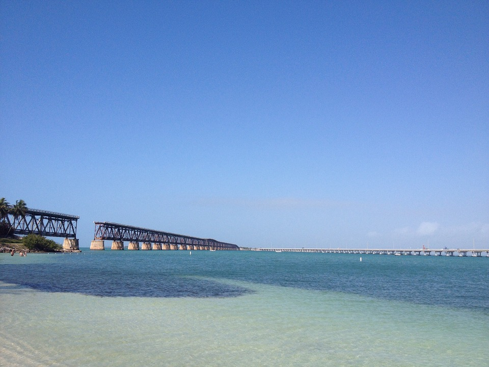 Sea, Bridge, Nature, America, Florida, Key