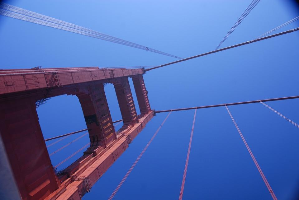 Golden Gate, Bridge, California, America, Famous, Sky