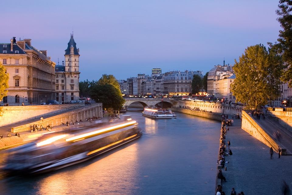 Paris, Seine River, Night, Seine, Architecture, Bridge