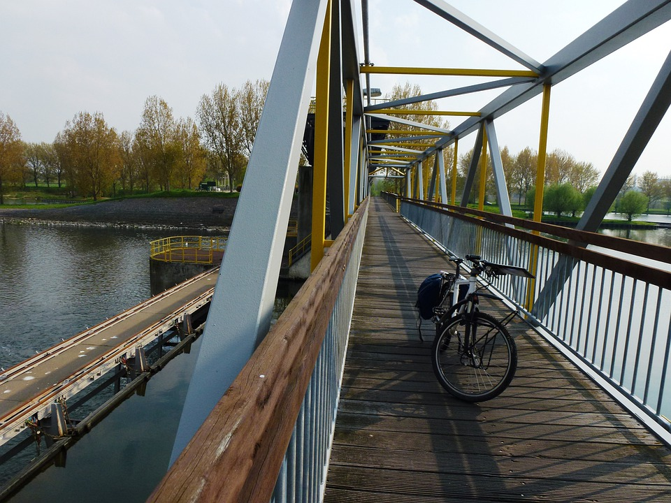 Netherlands, Bridge, Bicycle, Autumn, Fall, River