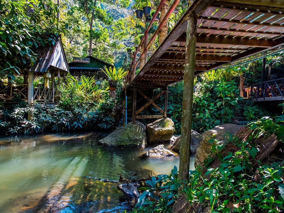 Landscape, Bridge, Thailand, Bach