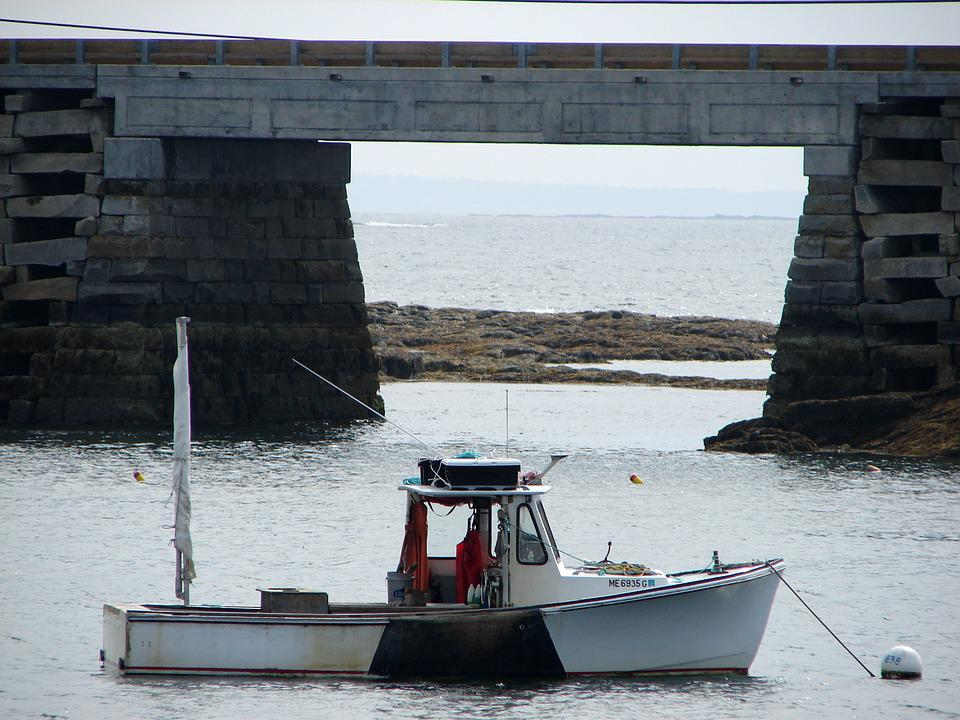 Cribstone, Bridge, Bailey, Island, Maine, Boat