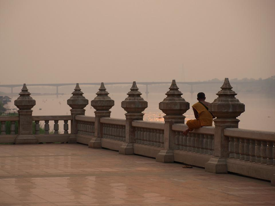 Buddhist, Bridge, Calm, Based, River, Religious