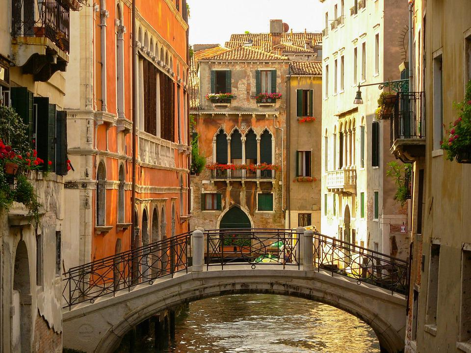 free photo bridge canal architecture water italy city